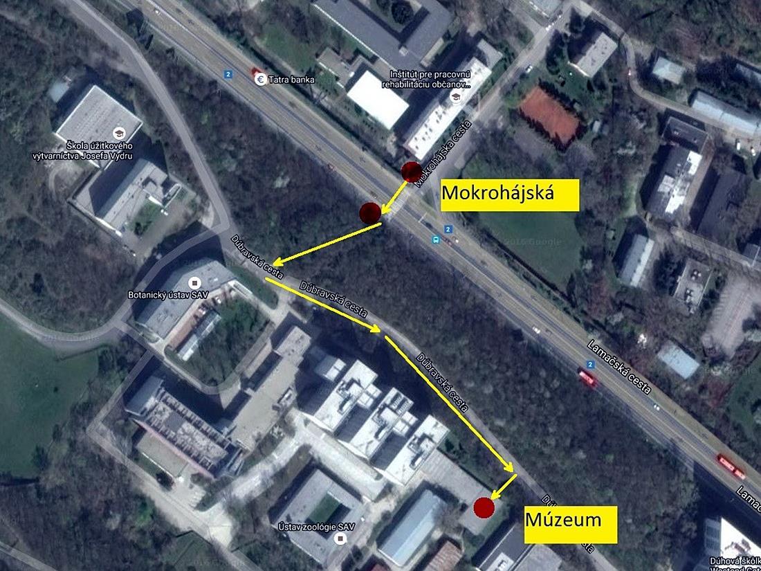 Prístup zo zastávky MHD Mokrohájská, nie pre autá